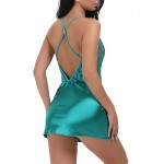 Quiet Green Sleek Satin Body Chemise With G-String